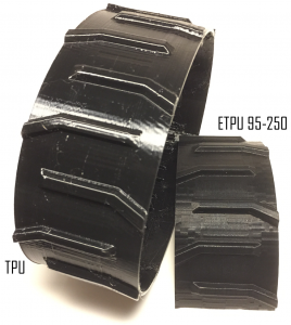 TPU vs. ETPU (Conductive and Flexible 3D printing filament ETPU 95-250 Carbon Black)