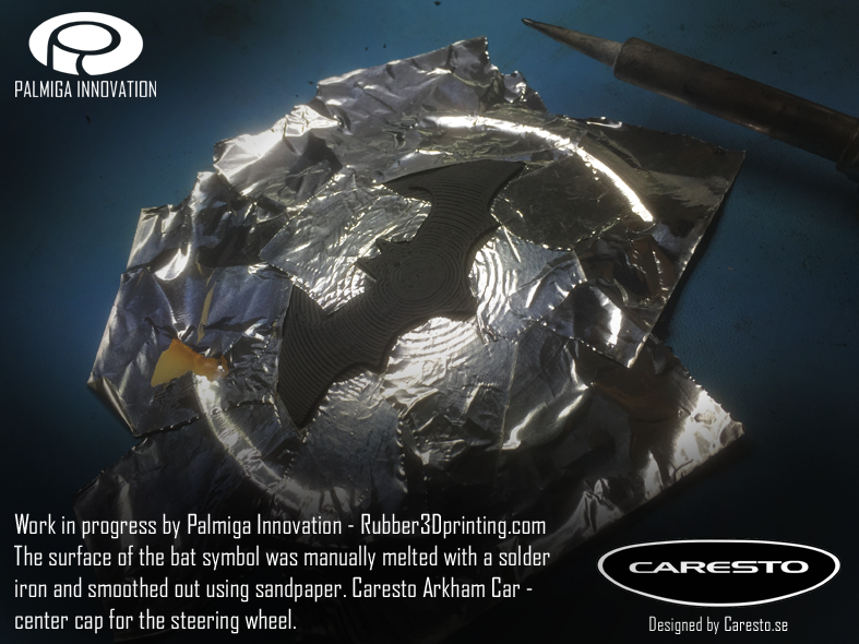 Caresto Arkham Car - The bat symbol was manually melted with a solder iron and smoothed out using sandpaper.