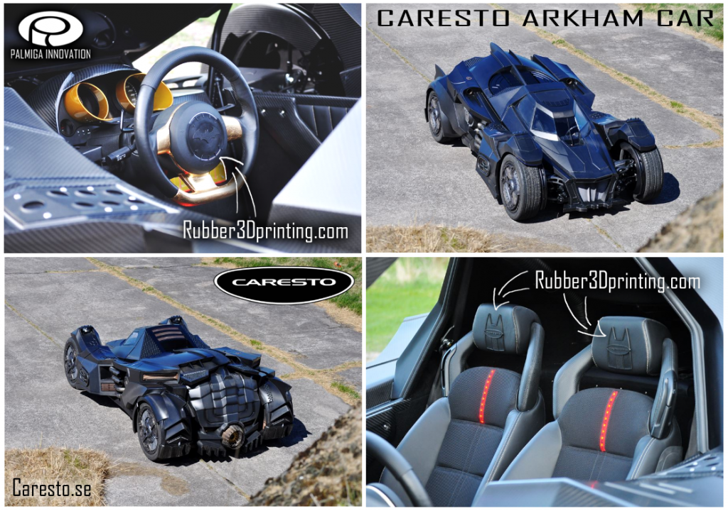 3D printed rubberlike parts in the Caresto Arkham Car - printed by Palmiga Innovation / Rubber3Dprinting.com