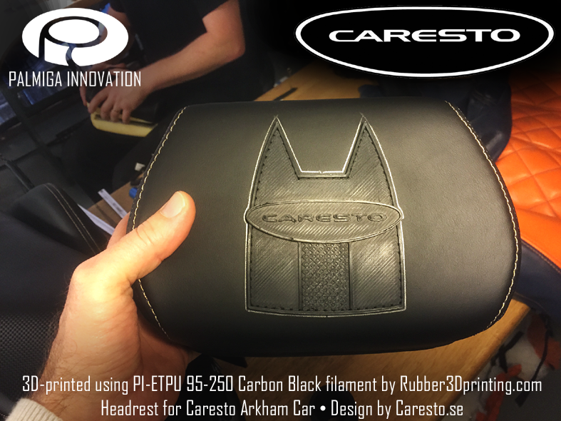 3d printed headrest logo - Caresto Arkham car