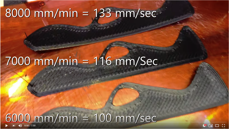 3D-printing flexible ETPU 95-250 Carbon Black filament at 8000 mm/min with Bondtech